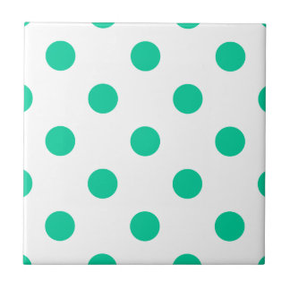 Polka Dots Huge - Caribbean Green on White Small Square Tile