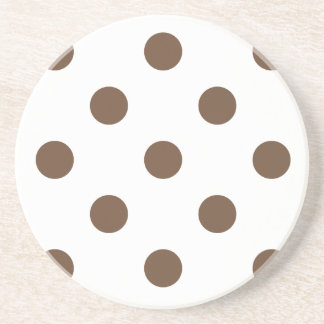 Polka Dots Huge - Coffee on White Beverage Coaster