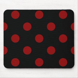 Polka Dots Huge - Dark Red on Black Mouse Pad