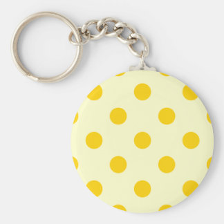 Polka Dots Huge - Dark Yellow on Light Yellow Basic Round Button Keychain
