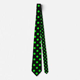Polka Dots Huge - Electric Green on Black Tie