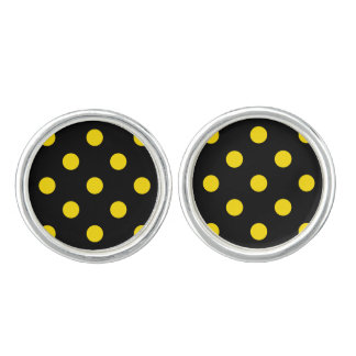 Polka Dots Huge - Golden Yellow on Black Cufflinks