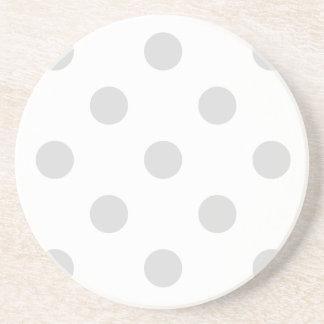 Polka Dots Huge - Light Gray on White Coaster