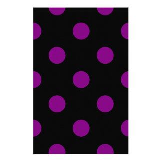 Polka Dots Huge - Purple on Black Personalized Stationery