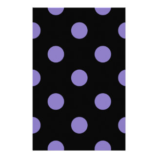 Polka Dots Huge - Ube on Black Personalized Stationery