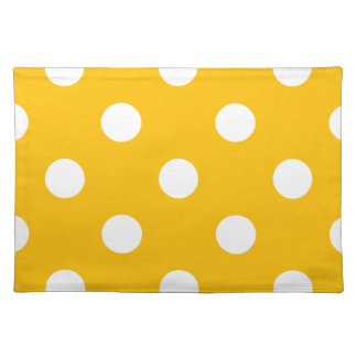 Polka Dots Huge - White on Amber Placemats