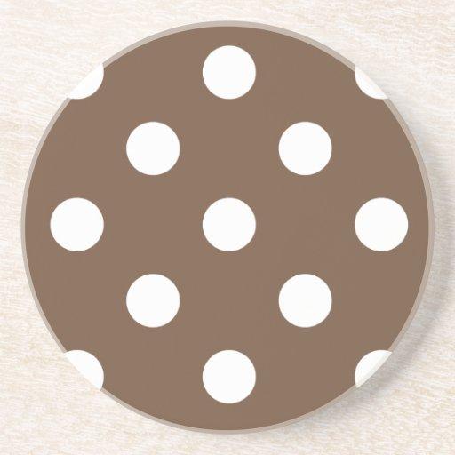 Polka Dots Huge - White on Coffee Coasters
