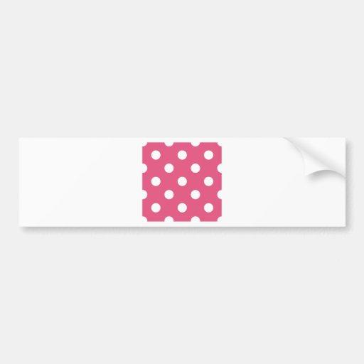 Polka Dots Huge - White on Dark Pink Bumper Sticker