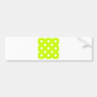 Polka Dots Huge - White on Fluorescent Yellow Bumper Sticker