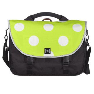 Polka Dots Huge - White on Fluorescent Yellow Laptop Messenger Bag