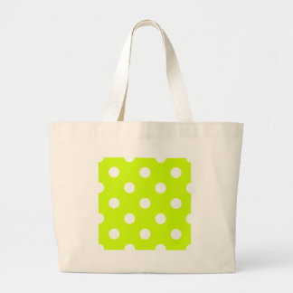 Polka Dots Huge - White on Fluorescent Yellow Bag