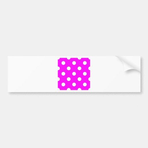 Polka Dots Huge - White on Fuchsia Bumper Stickers