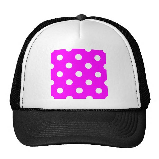 Polka Dots Huge - White on Fuchsia Mesh Hats