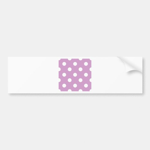 Polka Dots Huge - White on Light Medium Orchid Bumper Sticker