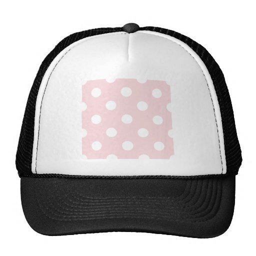 Polka Dots Huge - White on Pale Pink Mesh Hat
