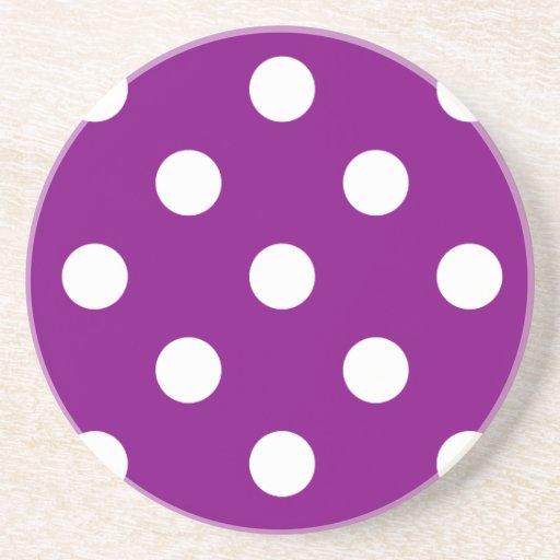 Polka Dots Huge - White on Purple Drink Coaster