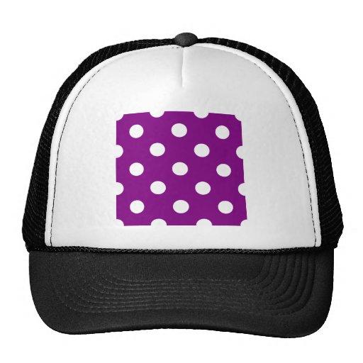 Polka Dots Huge - White on Purple Mesh Hats