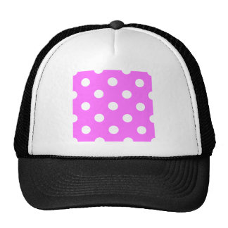 Polka Dots Huge - White on Ultra Pink Mesh Hats