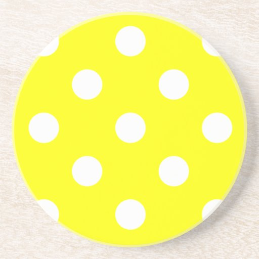 Polka Dots Huge - White on Yellow Drink Coasters
