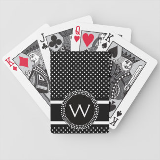 Polka Dots in Black and White with Mod Circle Bicycle Playing Cards