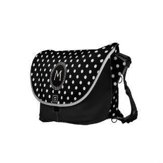 Polka Dots in Black and White with Mod Circle Courier Bags