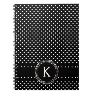 Polka Dots in Black and White with Mod Circle Notebook
