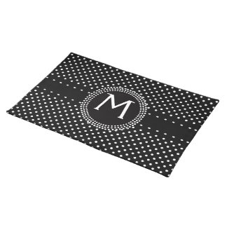 Polka Dots in Black and White with Mod Circle Placemat