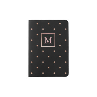 Polka Dots in Faux Rose Gold on Black Passport Holder