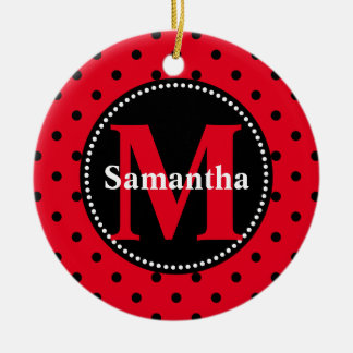 Polka Dots in Red and Black Personalized Round Ceramic Decoration