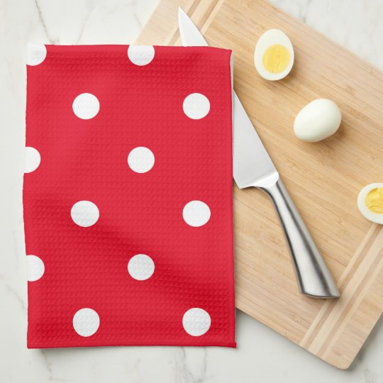 Polka Dots in Red and White Tea Towel