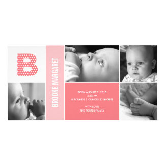 Polka Dots Initial Baby Birth Announcement Card
