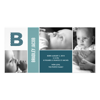 Polka Dots Initial Baby Birth Announcement Photo Greeting Card