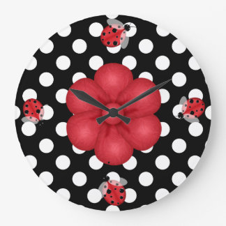 Polka Dots & Ladybugs Wall Clock