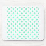 Polka Dots Large - Aquamarine on White Mousepads