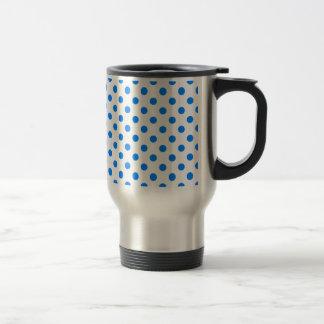 Polka Dots Large - Azure on White 15 Oz Stainless Steel Travel Mug