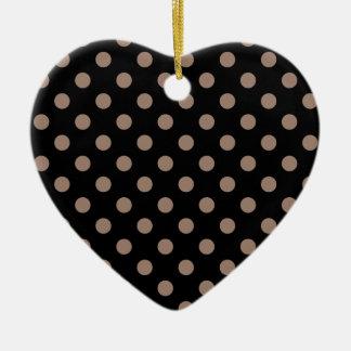 Polka Dots Large - Beaver on Black Ceramic Heart Decoration