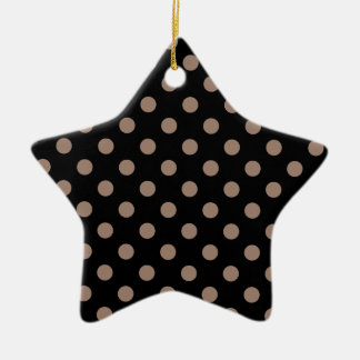 Polka Dots Large - Beaver on Black Ceramic Star Decoration