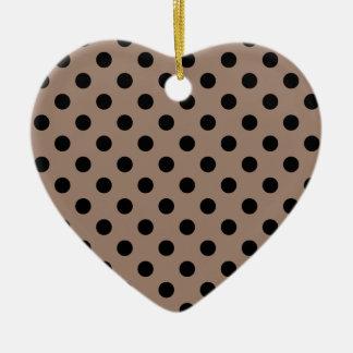 Polka Dots Large - Black on Beaver Ceramic Heart Decoration