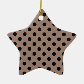 Polka Dots Large - Black on Beaver Ceramic Star Decoration