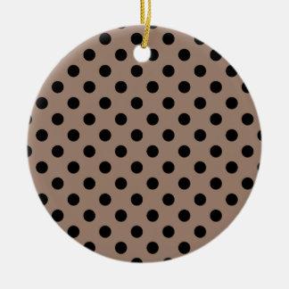 Polka Dots Large - Black on Beaver Round Ceramic Decoration