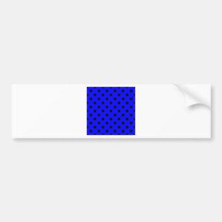 Polka Dots Large - Black on Blue Bumper Sticker