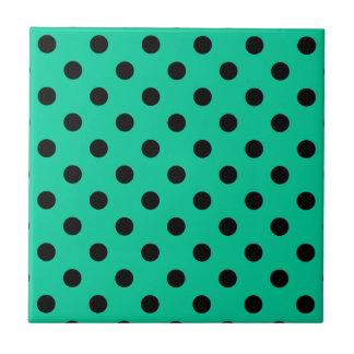 Polka Dots Large - Black on Caribbean Green Ceramic Tile