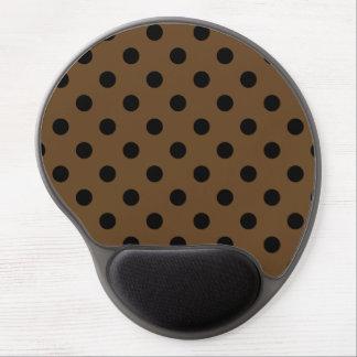Polka Dots Large - Black on Dark Brown Gel Mouse Pad