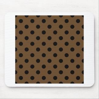 Polka Dots Large - Black on Dark Brown Mousepads