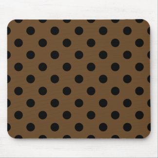 Polka Dots Large - Black on Dark Brown Mousepad