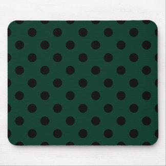 Polka Dots Large - Black on Dark Green Mousepad