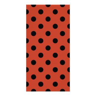 Polka Dots Large - Black on Dark Pastel Red Customized Photo Card
