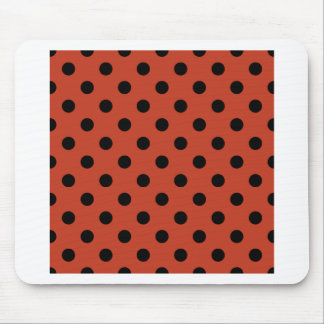 Polka Dots Large - Black on Dark Pastel Red Mouse Pads