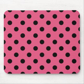 Polka Dots Large - Black on Dark Pink Mouse Pads