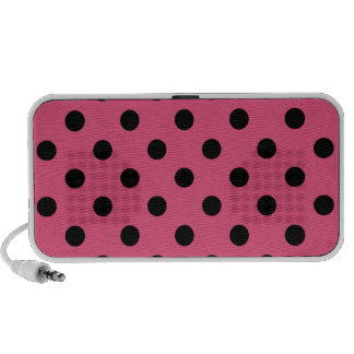 Polka Dots Large - Black on Dark Pink iPod Speaker